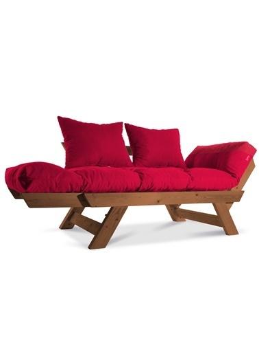 Dekoro Kombin Wood Ahşap Iki Kişilik Kanepe, Bahçe Kanepesi, Yataklı Kanepe (Gürgen Kırmızı) Kırmızı